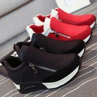 Women's High-top Heels Platform Side Zip Casual boots Sneakers Shoes Q