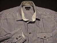 Zara Man Mens sz 17 Long Sleeve Button-Front 100% Cotton Blue Striped Shirt