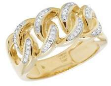 Men's 10K Yellow Gold Genuine Diamond Miami Cuban Fashion Band Ring .23 CT 11MM
