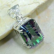 "Handmade Rainbow Mystical Fire Topaz 925 Sterling Silver Pendant 1.75"" #D3780"