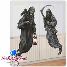 2 HAUNTED HOUSE GRIM REAPER SCENE SETTERS Halloween Party Decoration Add ons