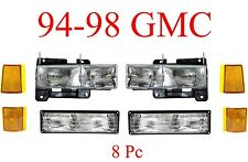 94 98 GMC 8Pc Head Light, Parking Light & Side Amber Light Kit, Truck, Yukon