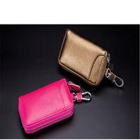 Women Men Leather Car KeyChain Card Holder Wallet Case key Organizer Bag