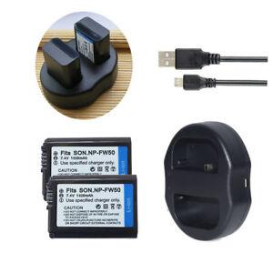 2x NP-FW50 Battery /Charger for Sony A7 II A7R A7S ILCE-6000 ILCE-7 ILCE-5100