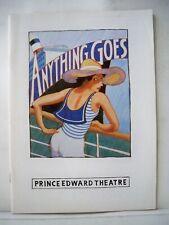ANYTHING GOES Playbill COLE PORTER / ELAINE PAIGE / HOWARD McGILLIN UK 1989