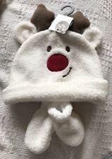 BNWT Primark Christmas Rudolf Hat And Gloves Set. Age 3-6 Months