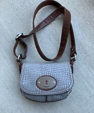 FOSSIL Maddox Snakeskin Embossed Leather Grey Small Crossbody Bag