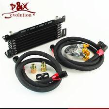 176F /80 Deg Thermostat 7 Row Oil cooler w/ Mounting Bracket+ Adapter Hose Kit