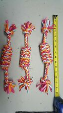 SET OF ( 3 )Puppy Dog Pet Toy Cotton 15 inch Braided Rope Chew Toy New Training