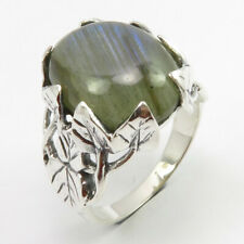 Solid Sterling Silver LABRADORITE Ring Size 7 6.2 Grams Ladies Gems Jewelry