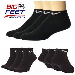 Size XL 12-15 NIKE 3-Pack Triple Black Cushioned Training Dri Fit Low Cut Socks