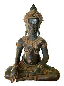 Antigüedad Khmer Estilo Bronce Enlightenment Angkor Wat Estatua de Buda -