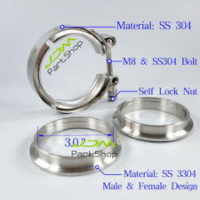 "Stainless Steel 3.0"" 76mm V-Band Clamp Flanges Kit VB Clamp+Male&Female Flange"