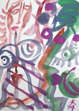 1994 ABSTRACT EXPRESSIONIST WOMAN PORTRAIT FIGURES WC PAINTING, SIGNED