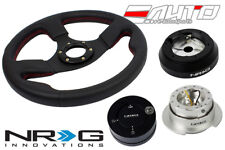 NRG 320 Race Leather Steering Wheel Red/160 Hub/2.5 SL Quick Release/Lock Matt