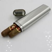Stainless Steel 2 Cigar Case Cigarettes Holder Tube Portable Travel Smoking Set