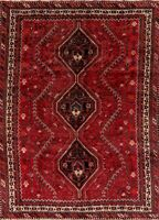 Vintage Geometric Oriental Abadeh Area Rug Wool Hand-Knotted Tribal Carpet 7x10