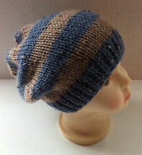Hand Knit Childs Striped Beanie Hat - 7-8 Years - Blue & Beige Stripe Wool Blend