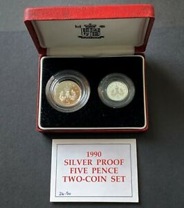 G.B, Royal Mint, 1990, Silver Proof Five Pence Two-Coin Set (Boxed & C.O.A)