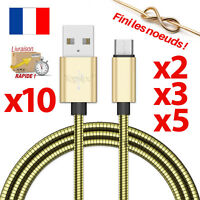 CHARGEUR POUR SAMSUNG GALAXY S6 S7 EDGE CABLE MICRO USB DATA V8 ANDROID OR METAL