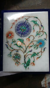 Marble White Top Jewelry Lidded Box Lapis Inlaid Marquetry Floral art Decor Gift