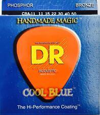Dr Cba-11 Cool Blue Phoshpor Bronze Coated Acoustic Guitar Strings 11-50 lite