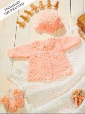 """Poupée PREM ou reborn 12 """" - 20"""" veste bonnet bootees châle 4 plis crochet pattern"""