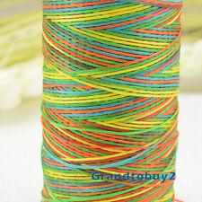 Heavy Duty Rainbow Colour 284 Yards/Spool 1mm Sewing Leather Waxed Flat Thread