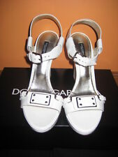 Dolce & Gabbana, d&G,  white patent leather wedges, 39.5, $650