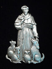 """""""JJ"""" Jonette Jewelry Silver Pewter 'St. Francis of Assisi' Animal Pin"""
