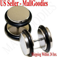 """2083 Fake Cheaters Illusion Faux Ear Plugs 16G Surgical Steel 7/16"""" 11mm X Large"""