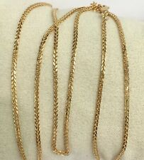 "18k Solid Gold Italian Wheat Chain/Necklace Dimond Cut 24"". 5.45 Grams"