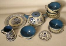 Vintage Lithographed Tin Toy Tea Set with Mount Vernon Scenes