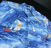 Nautica Blue Camp Aloha Hawaiian Shirt Sz XL Sail Boats