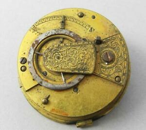 GEORGIAN ANTIQUE FUSEE VERGE POCKET WATCH MOVEMENT with ENGRAVED WATCH COCK  a