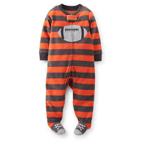 NWT Carters Striped Footed Sleeper Pajama Infant Toddler boys Red Football 12-3T
