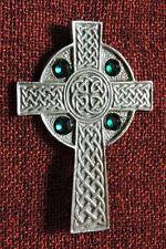 Celtic Cross Crystal Irish Medieval Iona Ireland Silver Pewter Brooch