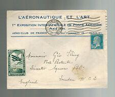1930 París Francia Correo Aéreo Cubierta Local Número Aire Aviación Exposición A