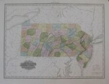 Original 1825 Tanner Engraved Map PENNSYLVANIA NEW JERSEY Hand Color Roads Canal