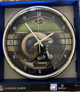 """St. Louis Rams Chrome 12""""  Round Wall Clock NFL Sign Banner - WinCraft - NEW"""