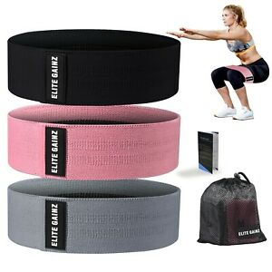 Resistance Booty Bands Set: 3 Non-Slip Fabric Exercise Bands for Butt, Leg & Arm
