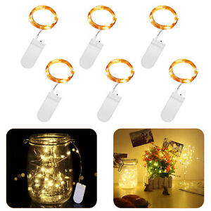 6X  20LED Fairy String Lights Battery Micro Rice Wire Copper Light Warm White