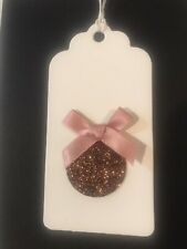 """Natural Merry Christmas Rose GOLD Bauble  """" X 6 Gift Tags"""