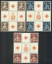 CROATIA #B3-5 Complete Red Cross set in Gutter Blocks of 4, og, NH, VF