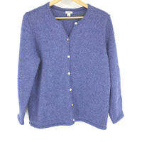LL Bean Sweater Size XL Womens Blue Cardigan Marled Cotton Crew Neck Knit Button