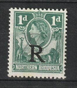 1953 Northern Rhodesia Bft:7 1d. Green R Overprint. QE2 Revenue. Very Fine Used.