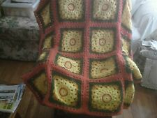 AFGHAN Handmade Craft Crochet Throw Blanket Afghan Granny Square fall colors