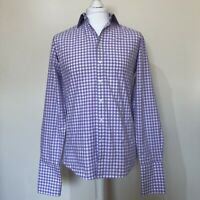 Thomas Pink Men Formal Shirt 15 Gingham White Purple 100% Cotton Long Sleeve