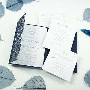 POCKET NAVY BLUE LASER CUT WEDDING INVITATIONS DIY WITH ENVELOPES FREE SHIPPING