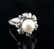 Traumhafter Gold-Ring 585 14K - Edle Perle und Brillanten im Blüten-Design - Top
